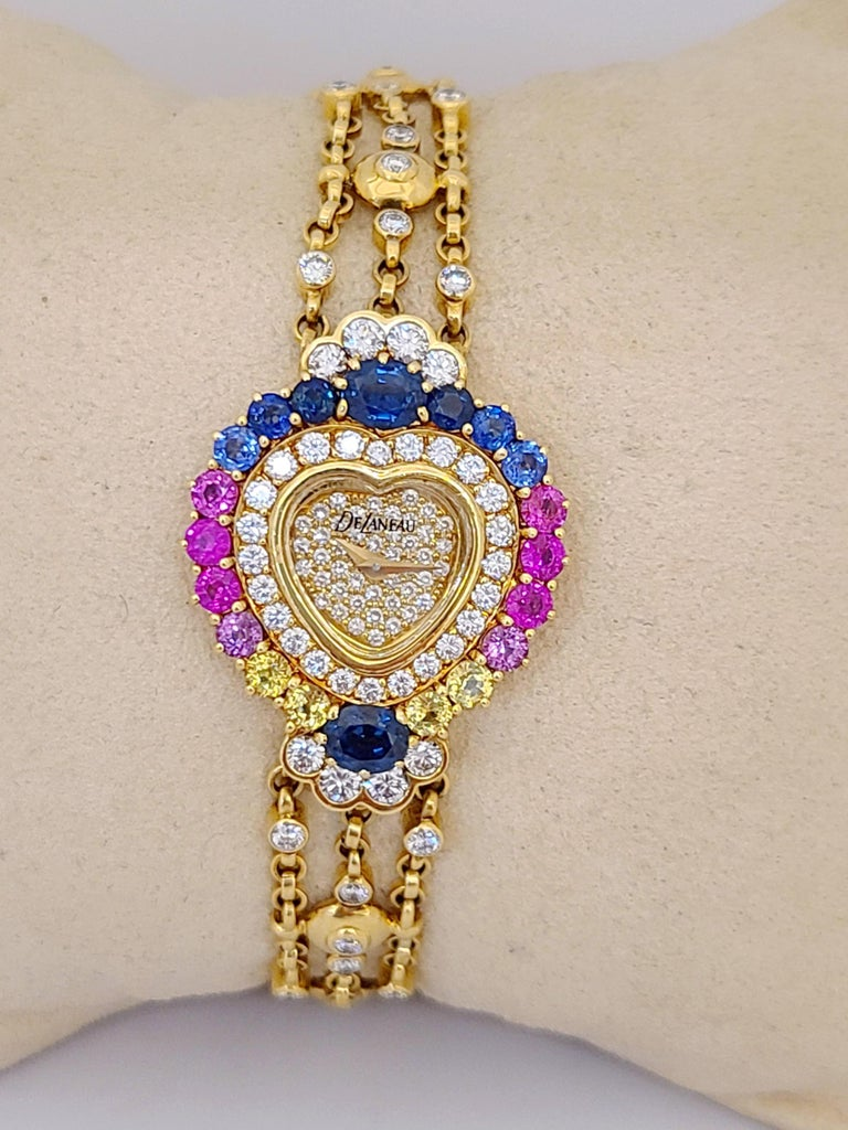DeLaneau 18 Karat Gold Diamond and Multicolored Sapphires Heart Shaped Watch For Sale 1