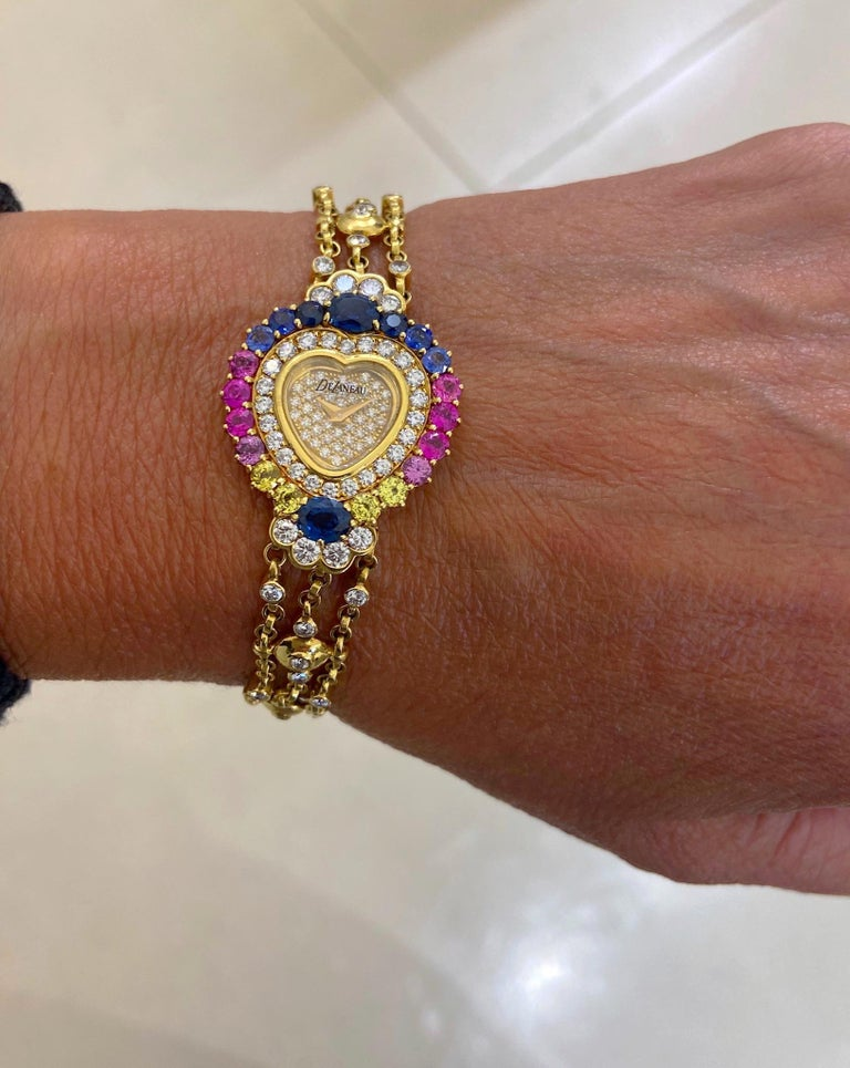 DeLaneau 18 Karat Gold Diamond and Multicolored Sapphires Heart Shaped Watch For Sale 2