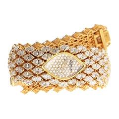 DeLaneau Diamond Watch in 18k Yellow Gold