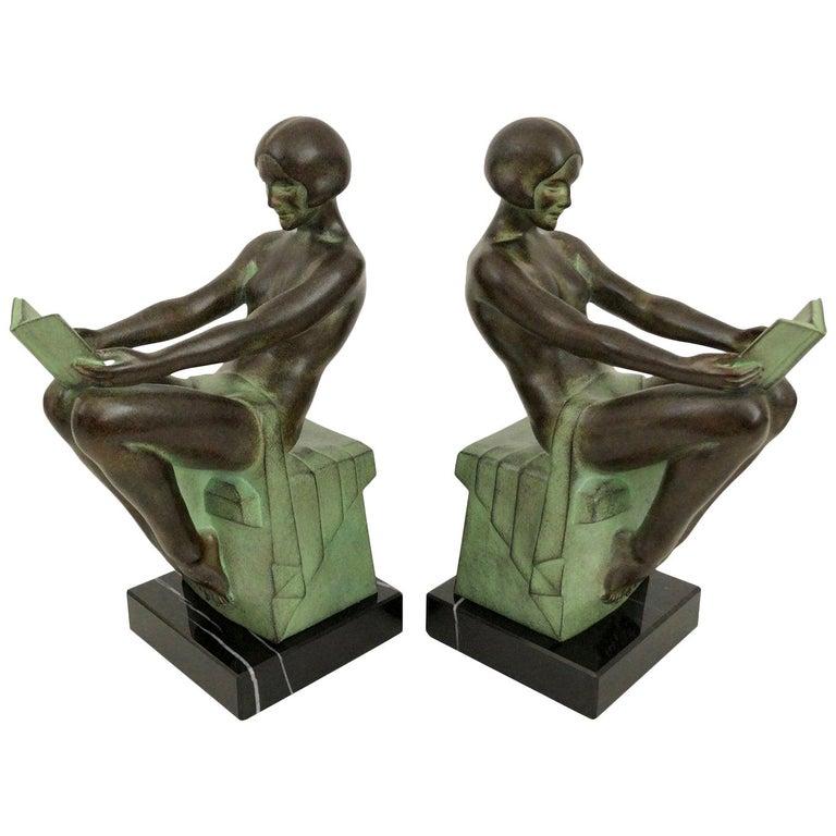 Delassement by Max Le Verrier Art Deco Style Bookends Sculptures Reading Ladies For Sale