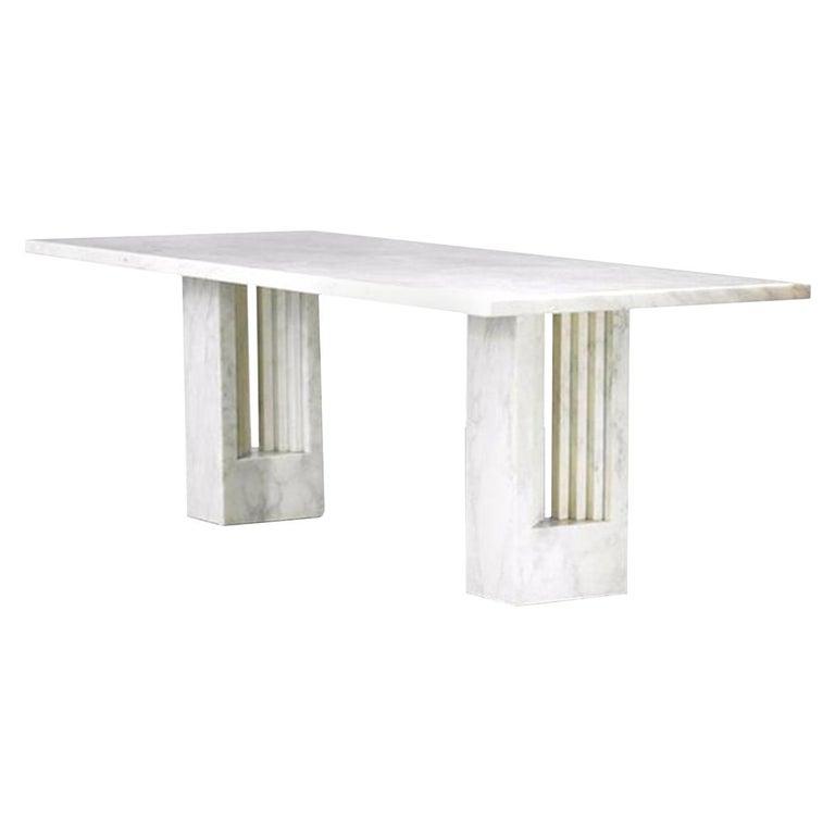 Delfi Table, Original Carrara Marble Table by Carlo Scarpa, 1970s For Sale