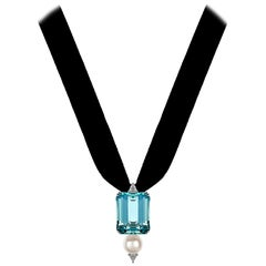 DELFINA DELETTREZ Aquamarine Pearl Diamond 18 Karat White Gold Pendant Necklace