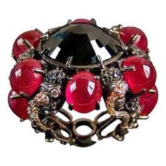 DELFINA DELETTREZ Black Diamond Ruby Gold Ring