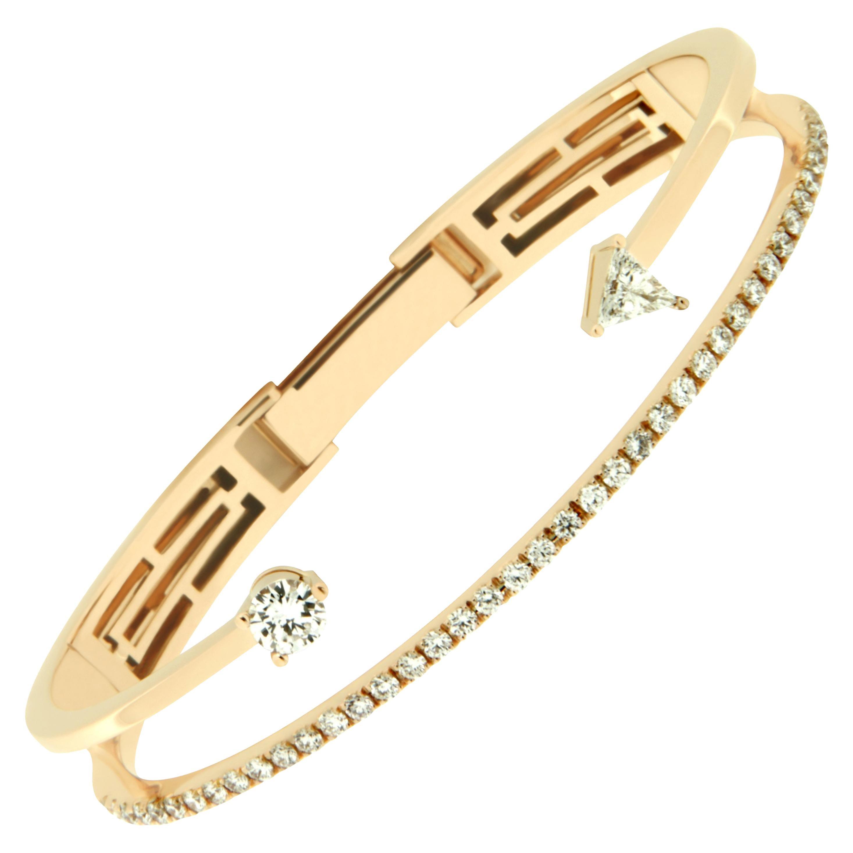 22c21fc0e731 DELFINA DELETTREZ Diamond Silver Gold Plated Finger Cuff Bracelet For Sale  at 1stdibs