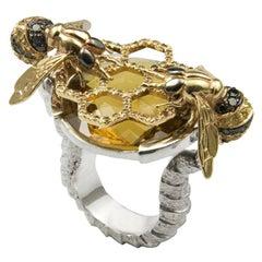 Diamond Sapphire Quartz Cocktail Bees Ring