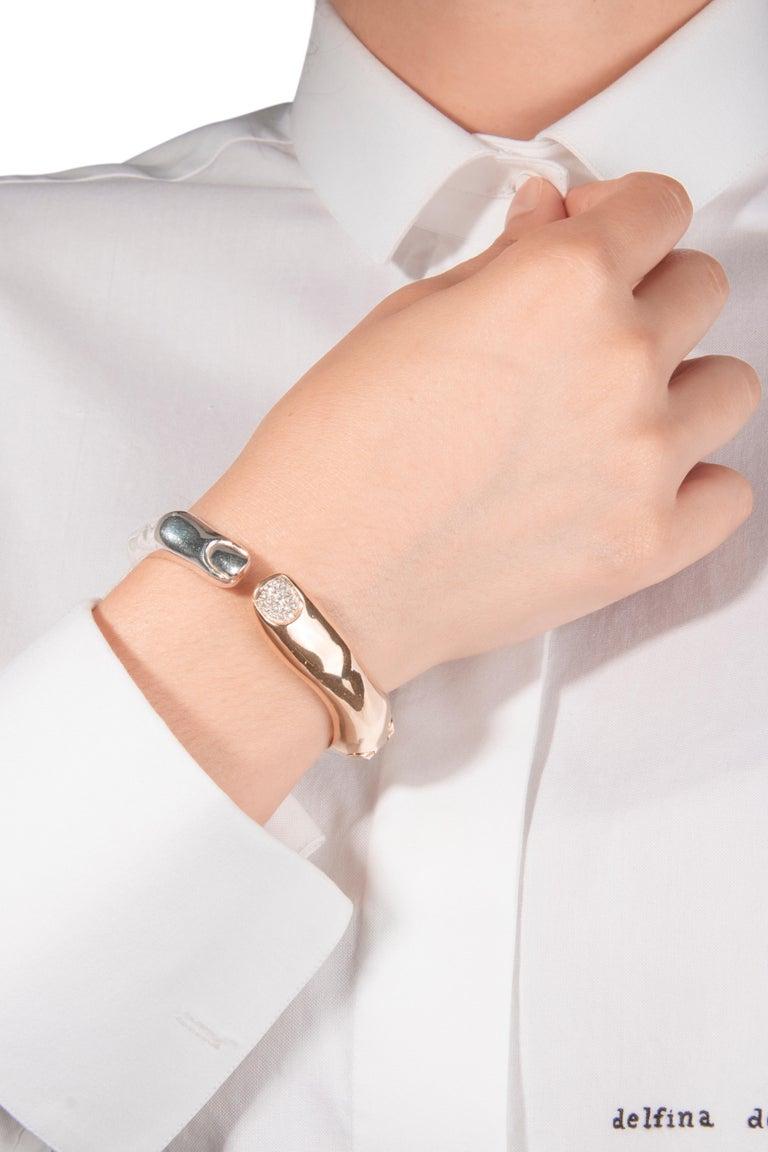 Contemporary DELFINA DELETTREZ Diamond Silver Gold Plated Finger Cuff Bracelet For Sale