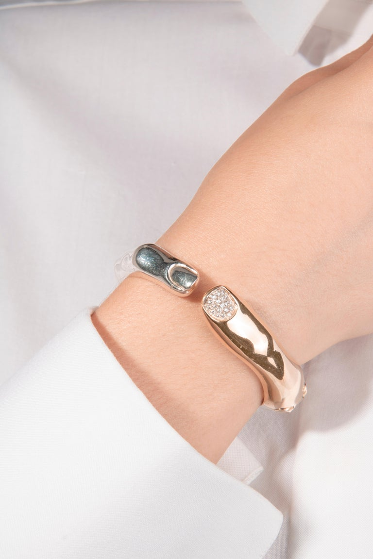 Round Cut DELFINA DELETTREZ Diamond Silver Gold Plated Finger Cuff Bracelet For Sale