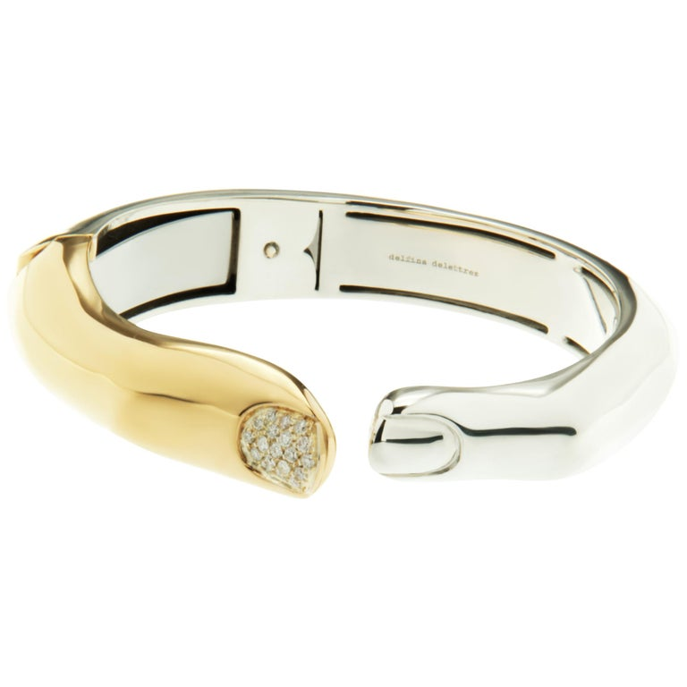 DELFINA DELETTREZ Diamond Silver Gold Plated Finger Cuff Bracelet For Sale