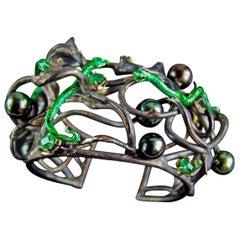 DELFINA DELETTREZ Emerald Gold Silver Bracelet With Snakes
