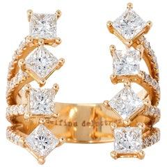 DELFINA DELETTREZ Princess Diamond 18 Karat Gold Ring