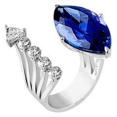 DELFINA DELETTREZ Tanzanite Diamond 18 Karat Gold Open Ring