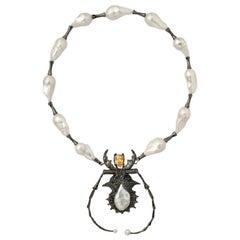 DELFINA DELETTREZ Topaz 18 Karat Gold Silver Insect Necklace