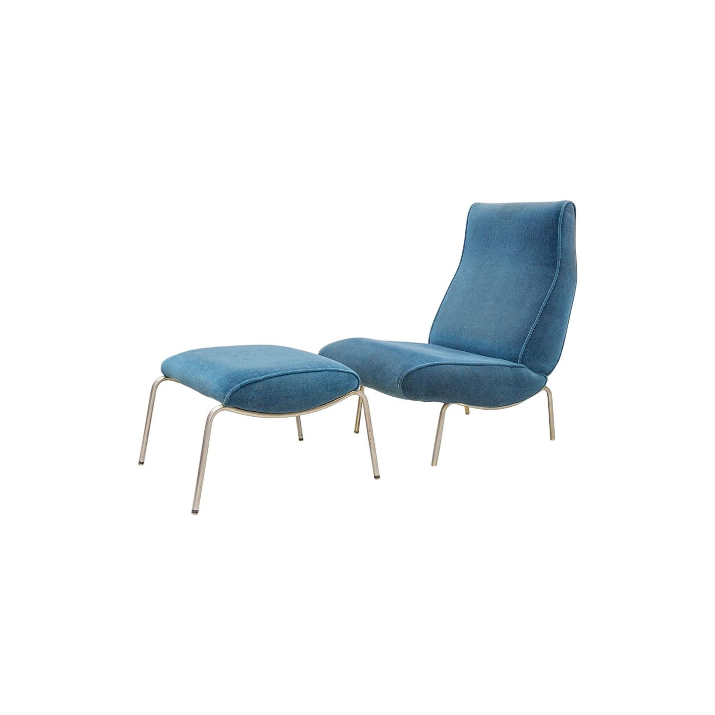 Delfino Lounge Chair with Ottoman, 1950s Blue Velvet, by Erberto Carboni, Arflex