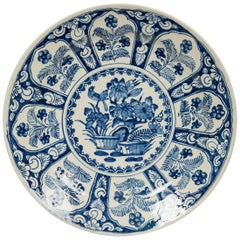 Delft Blue and White Charger Featuring Flowers and a Songbird 18th Century