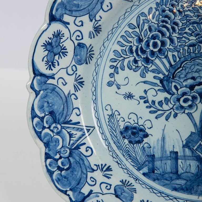 Rococo Delft Blue and White Charger Hand Painted Made by De Bijl 'The Axe', circa 1770 For Sale