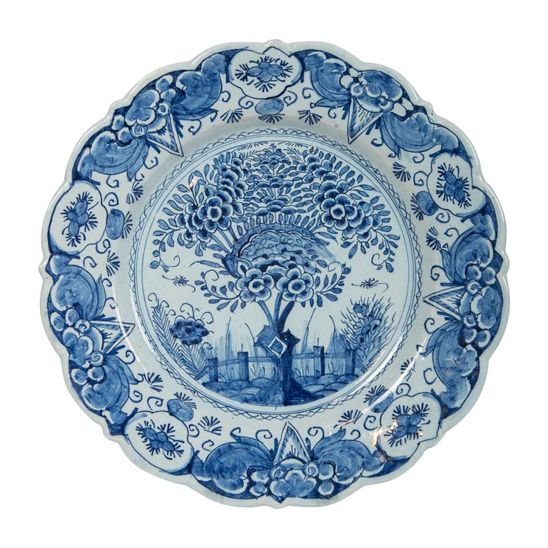 Delft Blue and White Charger Hand Painted Made by De Bijl 'The Axe', circa 1770 For Sale