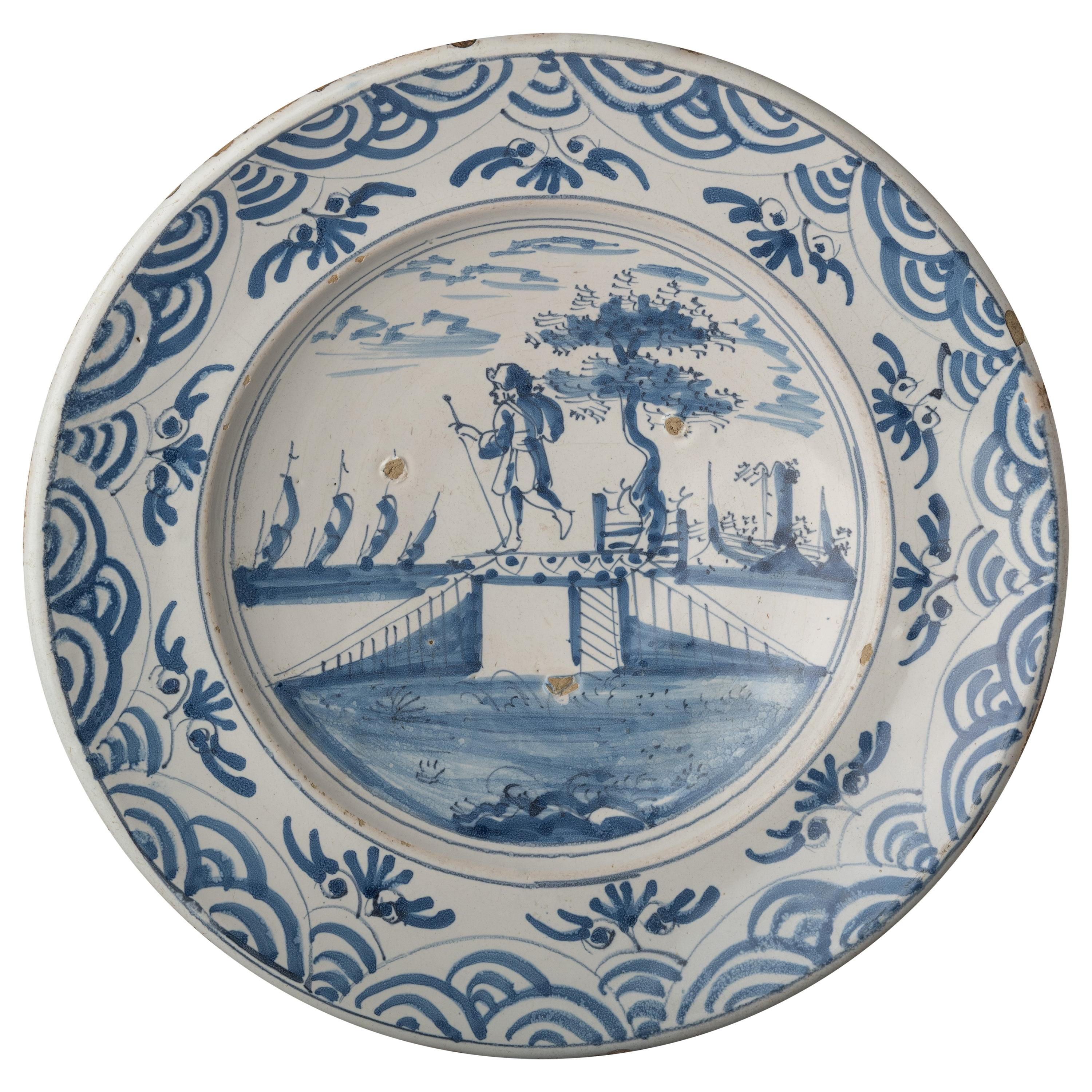 Delft, Blue and White Charger with a Shepherd in a Landscape, 1670-1700