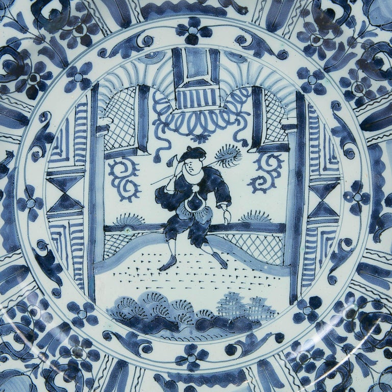 Dutch Delft Blue and White Charger with Chinoiserie Decoration Made 18th Century For Sale