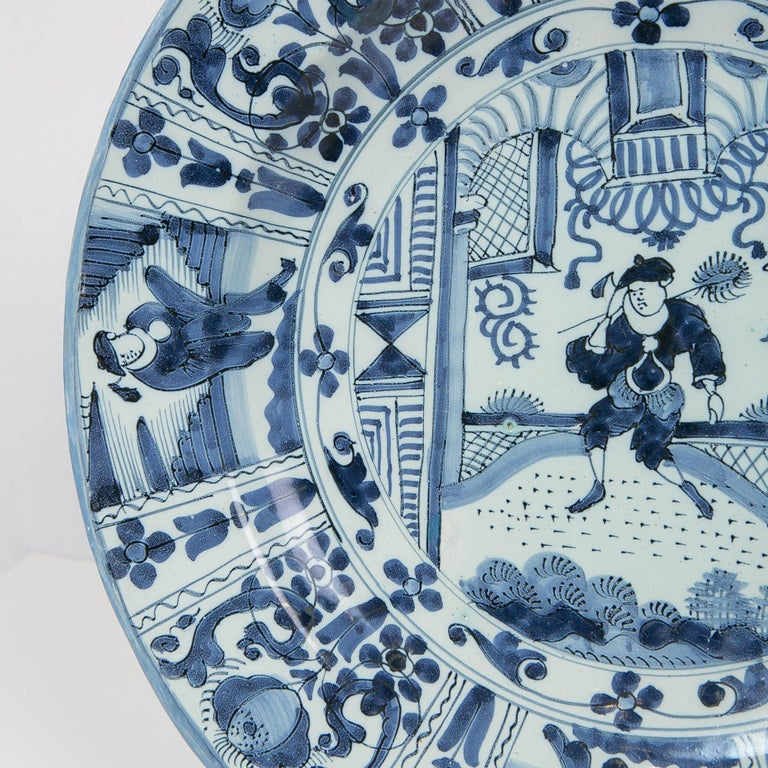 Glazed Delft Blue and White Charger with Chinoiserie Decoration Made 18th Century For Sale
