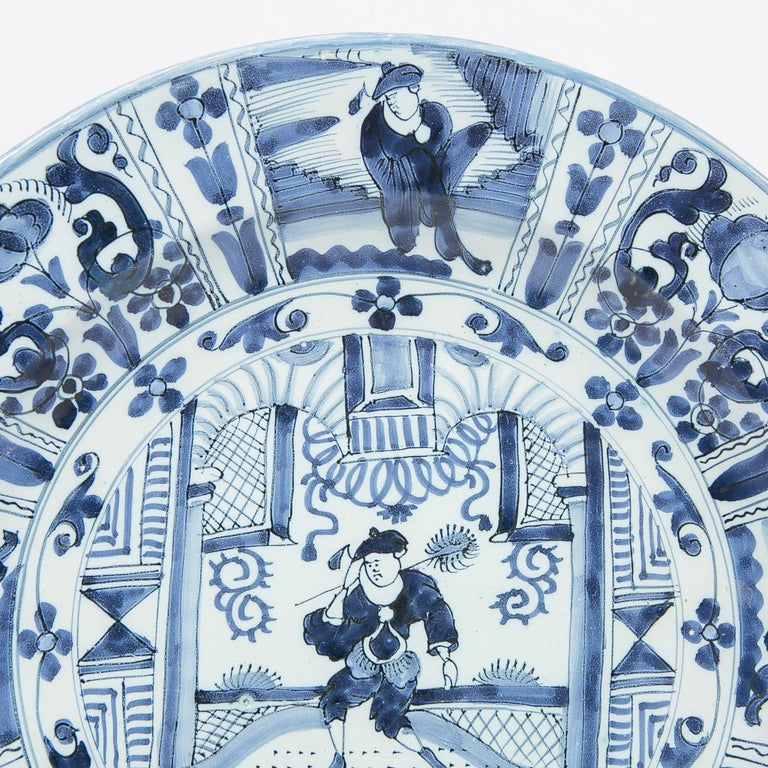Delft Blue and White Charger with Chinoiserie Decoration Made 18th Century For Sale 1