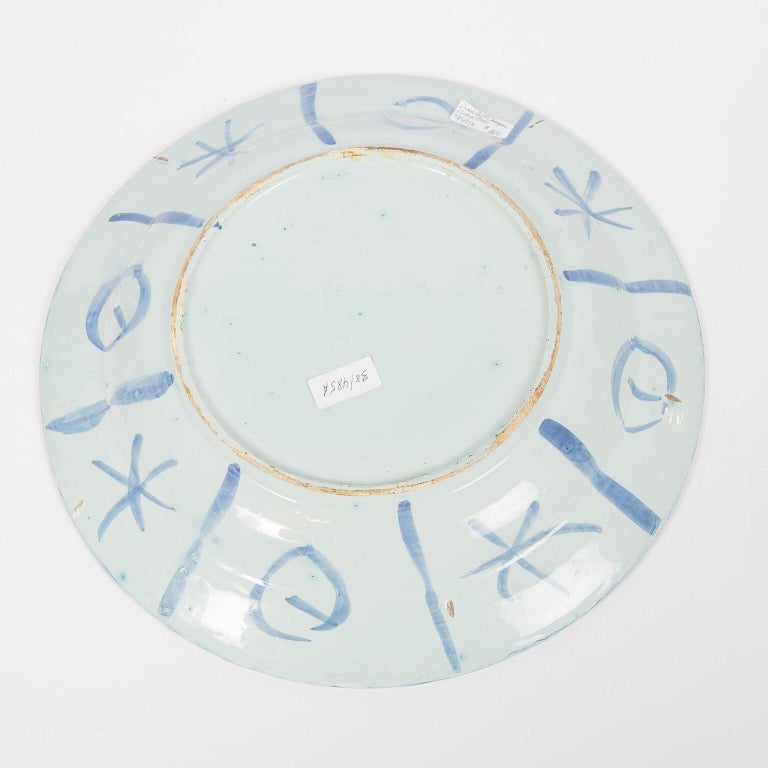 Delft Blue and White Charger with Chinoiserie Decoration Made 18th Century For Sale 3