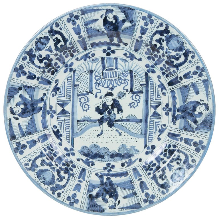 Delft Blue and White Charger with Chinoiserie Decoration Made 18th Century For Sale