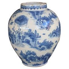 Delft, Blue and White Chinoiserie Landscape Jar, 1660-1680