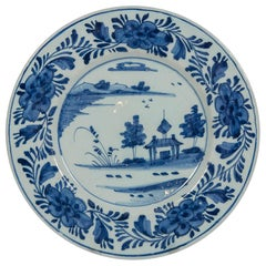 Delft Blue and White Dish Showing a Pagoda by the Waterside Made circa 1780