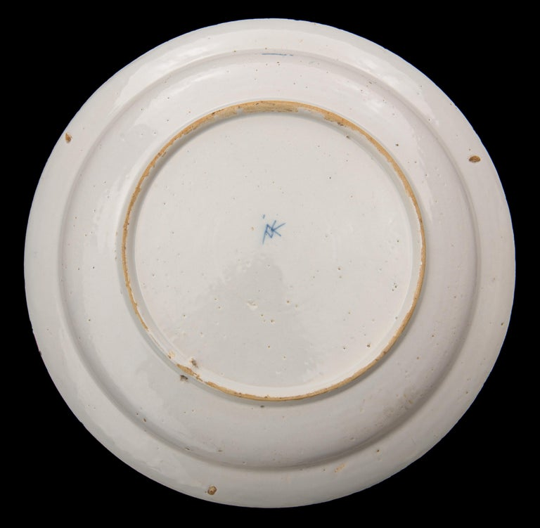 Dutch Delft, Blue and White Dragon Dish Mark AIK, Period J van der Kool '1722-1757' For Sale