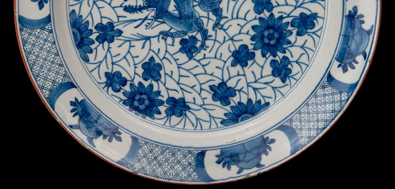 Hand-Painted Delft, Blue and White Dragon Dish Mark AIK, Period J van der Kool '1722-1757' For Sale