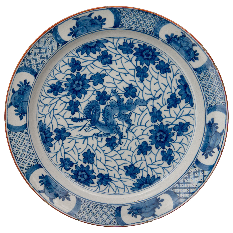 Delft, Blue and White Dragon Dish Mark AIK, Period J van der Kool '1722-1757'