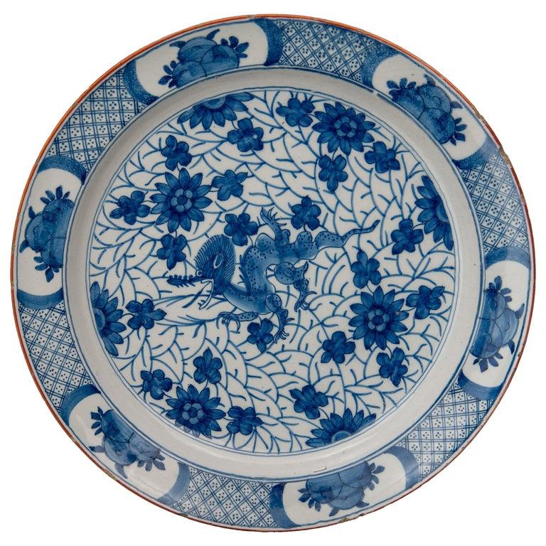 Delft, Blue and White Dragon Dish Mark AIK, Period J van der Kool '1722-1757' For Sale