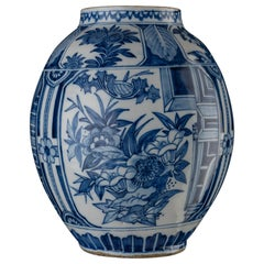 Delft, Blue and White floral Chinoiserie Jar, 1650-1680