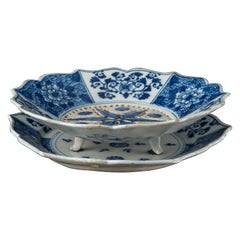 Delft, Blue and White Fruit Dish on Stand, 1740-1760 The Porcelain Claw Pottery