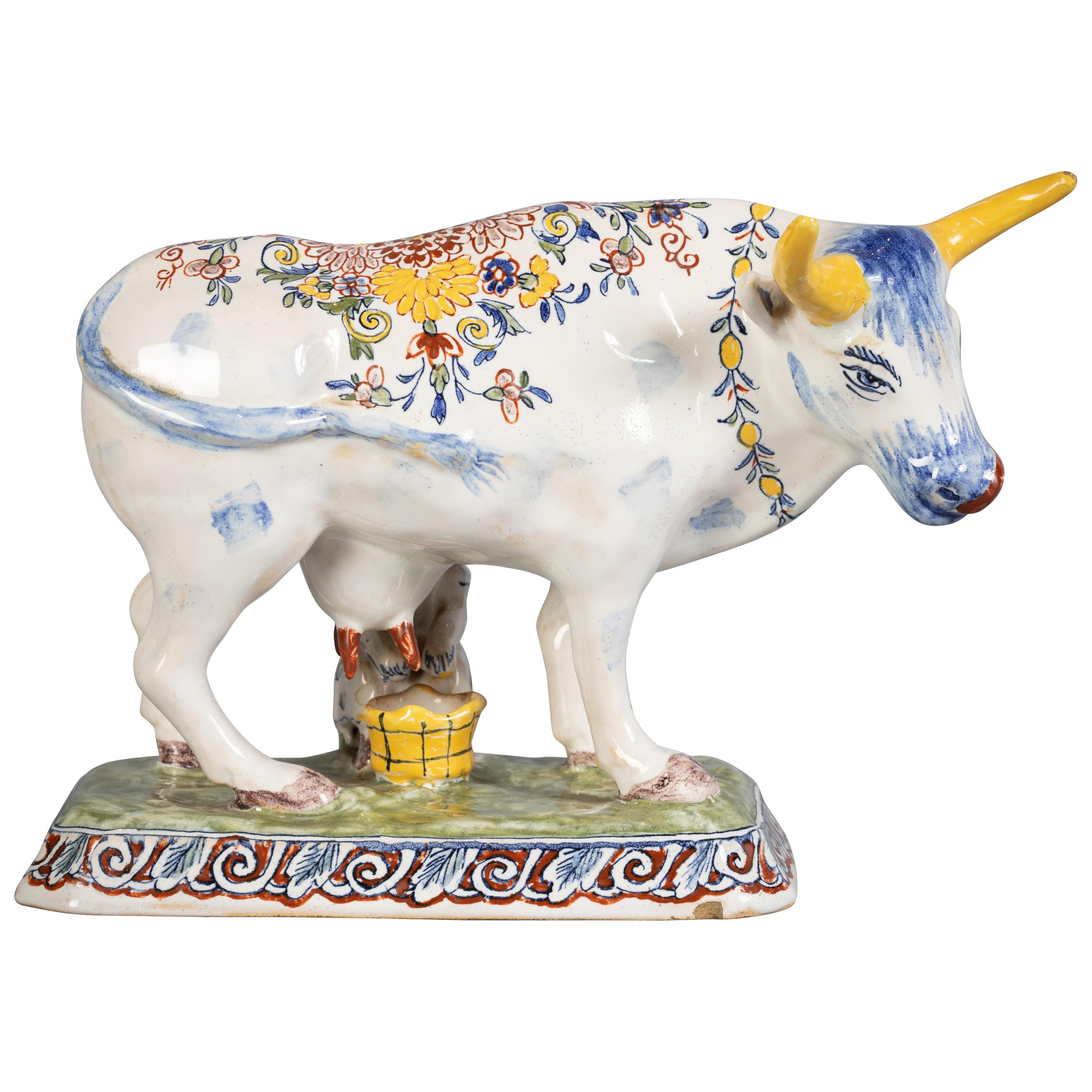 Delft Figural Group of Milkmaid and Cow, circa 1890