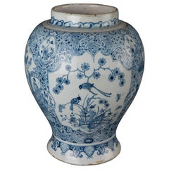 Delft, Finely Painted Blue and White Chinoiserie Jar, 1720-1750