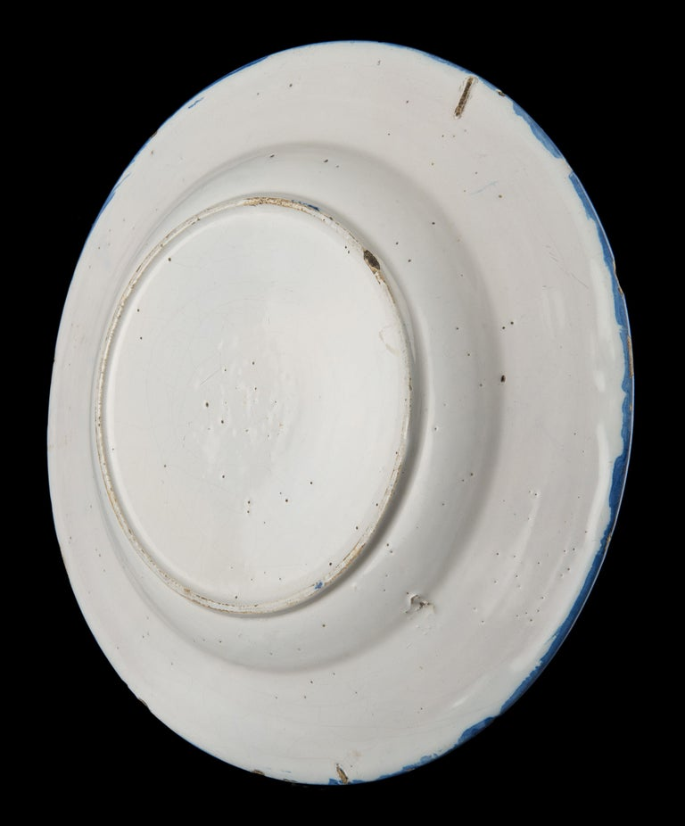 Dutch Delft, Large Blue and White Chinoiserie Dish, 1670 For Sale