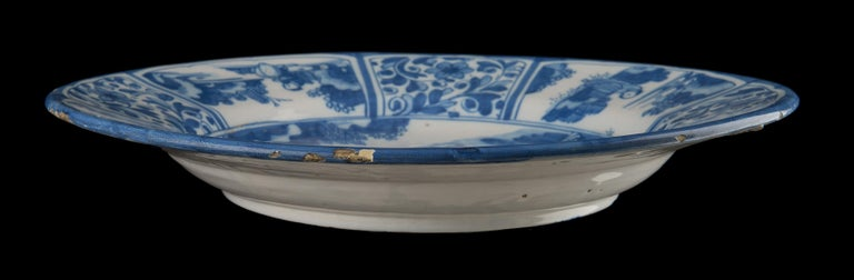 Hand-Painted Delft, Large Blue and White Chinoiserie Dish, 1670 For Sale