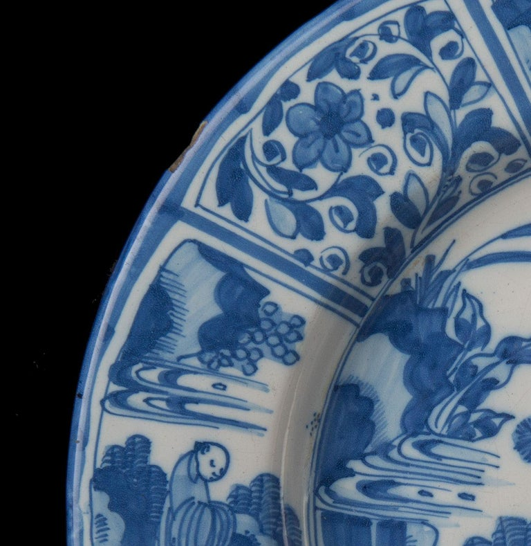 17th Century Delft, Large Blue and White Chinoiserie Dish, 1670 For Sale