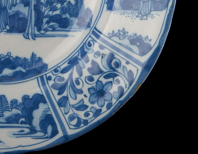 Ceramic Delft, Large Blue and White Chinoiserie Dish, 1670 For Sale
