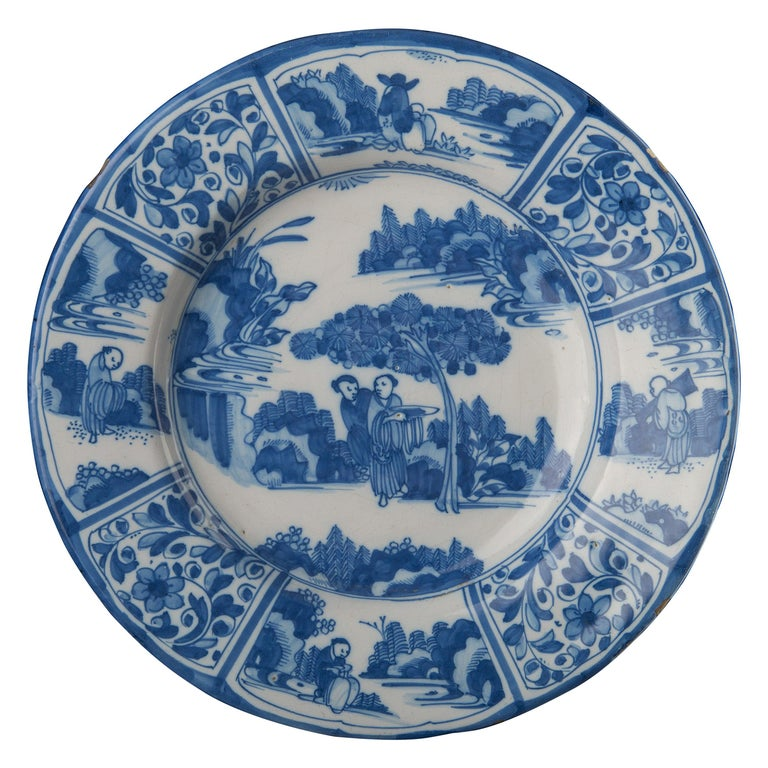 Delft, Large Blue and White Chinoiserie Dish, 1670 For Sale
