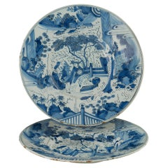 Delft, Pair of Blue and White Chinoiserie Dishes, 1680 - 1700