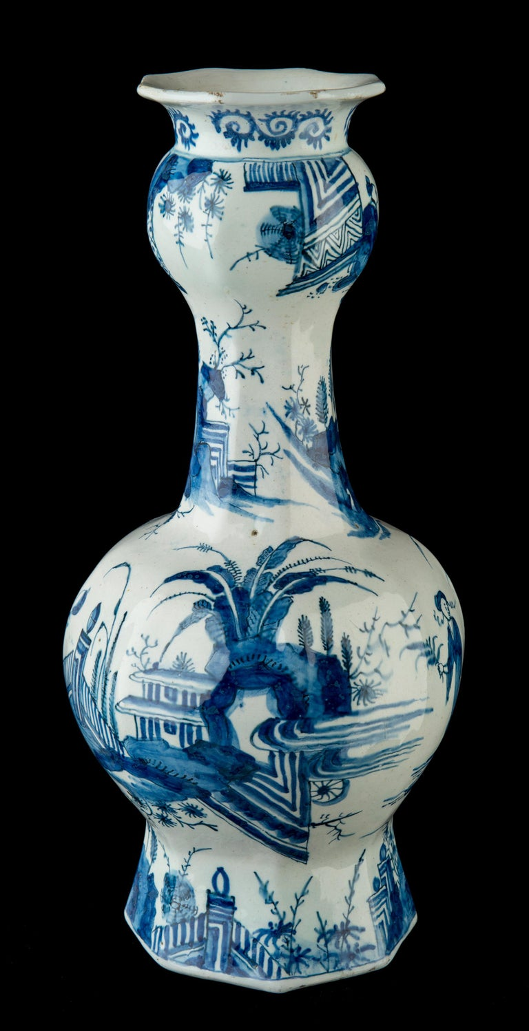 Baroque Delft, Pair of Blue and White Garlic-Head Bottle Vases, circa 1700 For Sale