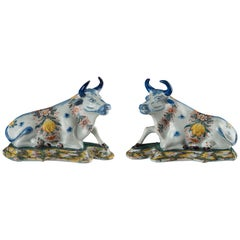 Delft, Pair of Polychrome Reclining Cows, Marked, C 1760