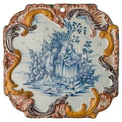 Delft, Plaque with a Courteous Scene, circa 1760
