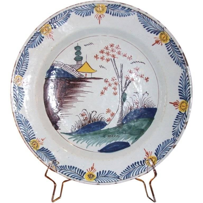 Delft Polychrome Charger For Sale