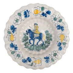 Delft, Polychrome Lobed Dish with Horseman, 1690-1700