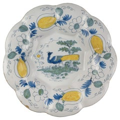 Delft, Polychrome Lobed Dish with Peacock #01, 1690