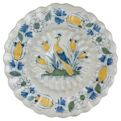 Delft, Polychrome Lobed Dish with Peacock #02, 1690