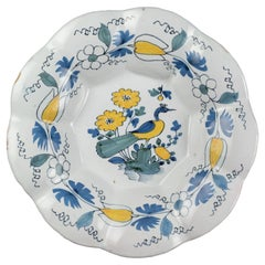 Delft, Polychrome lobed dish with peacock #03, 1690